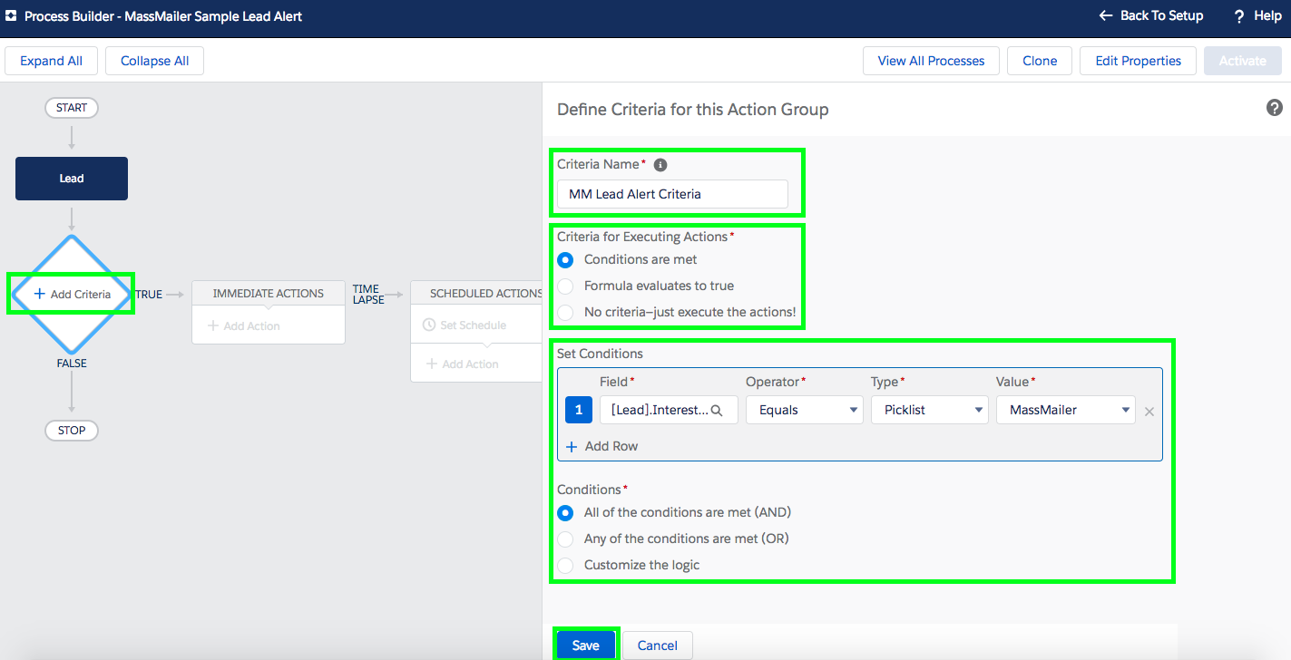 Send and Track Workflow Email Alerts in Salesforce - Set Criteria